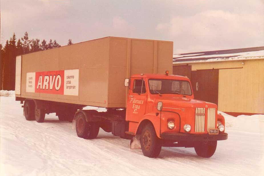 This truck was used to transport products from both Puutyöliike and the leased warehouses. Picture from the 1970's.